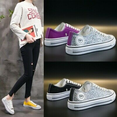 Ladies Girls Glitter Sequins Lace Up Patchwork Sneakers Canvas Skateboard Shoes