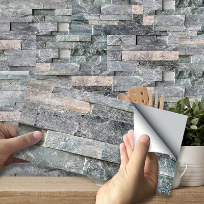 9pcs Light Grey Mosaic Bricks Self-adhesive Bath Kitchen Wall Tile Stair Sticker