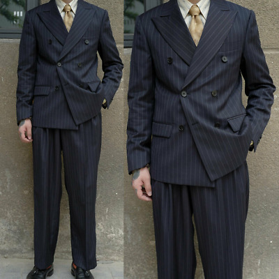 Navy Pinstripe Mens Suits Double Breasted Business Peak Lapel Tuxedos Pleat Pant