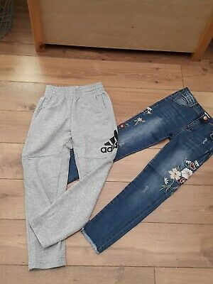 Girls Jeans Joggers Bundle 9-10 Adidas
