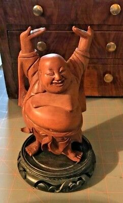 "Vintage Chinese Hand Carved Wooden Laughing Buddha Statue 7 7/8"" x 3 1/2"" Smooth"