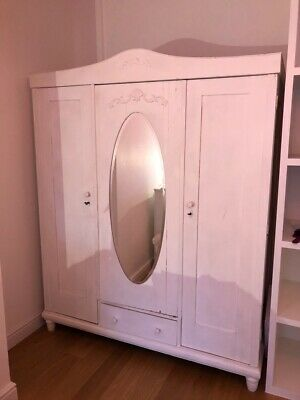 Vintage French Armoire / 3 Door French Wardrobe / Painted Shabby Chic Style
