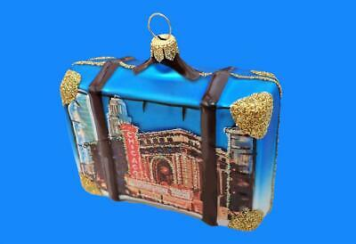 YELLOWSTONE VACATION SUITCASE LUGGAGE EUROPEAN BLOWN GLASS CHRISTMAS ORNAMENT
