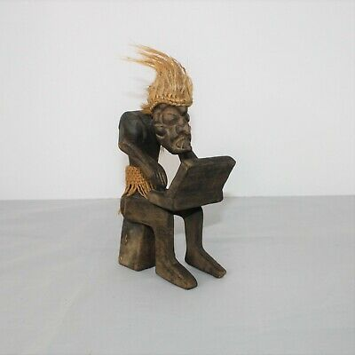 Hand-carved Crafted Wood Art Tiki Tribal Man Computer Rope Hair Burlap Figurine