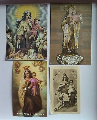 lote 4 estampas religiosa antiguas VIRGEN DEL CARMEN holy card