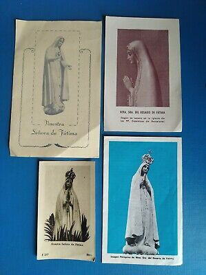 lote 4 estampas religiosa antiguas VIRGEN DE FÁTIMA holy card