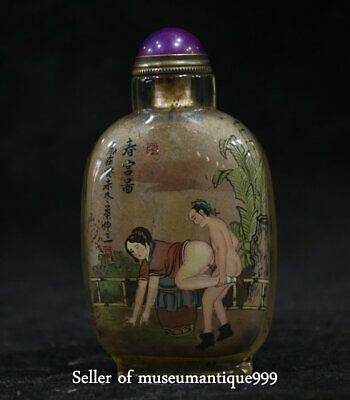 9CM Old Rare China Woman Man Make Love Inside Hand Painted Glass Snuff Bottle