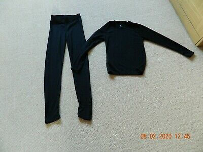 Child's Crane Black Thermal Top & Leggings Long Johns - Age 11-12 Years
