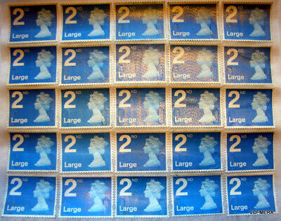 25 x Large Letter 2nd Class Unfranked Security Stamps with Partial Gum