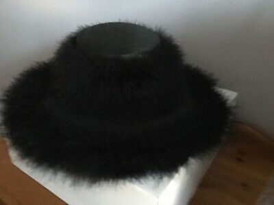 Black Feather Formal Hat One Size.