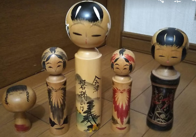 5 LOTS Japanese Vintage Wooden Kokeshi doll 8.6' 22cm tall Signed