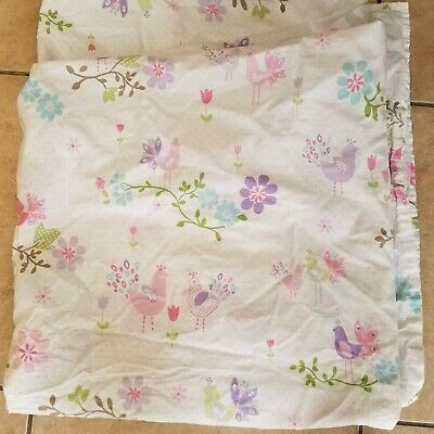"Pottery Barn Kids /""Watercolor Birds /& Flowers/"" Full Fitted Sheet"