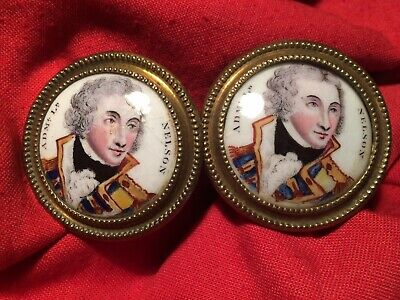 Pair of 19th century brass and porcelain curtain tie backs - Horatio Nelson