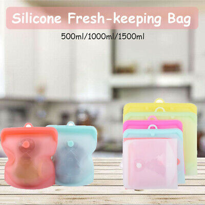 Kitchen Fresh Zip Lock Bags Reusable Silicone Food Freezer Storage Ziplock.