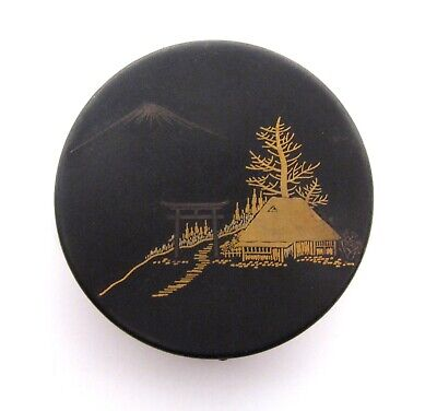 Fine Meiji Antique Japanese Signed Damascene Compact Powder Small Round Case