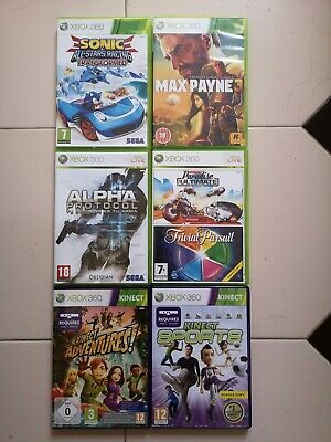 Lote 7 juegos Burnout Paradise,Trivial Pursuit-Max Payne 3- Sonic. Xbox 360 One