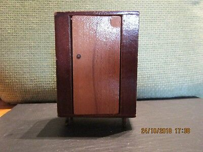 Vintage Dolls House Wooden Wardrobe with Mirror inside Door 12th Scale