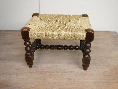 Late Victorian Oak Bobbin turned Foot Stool with Seagrass Seat.Circa 1890 - 1900