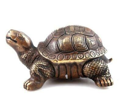 Vintage Brass Crafted Sculpture Turtle Tortoise Looking Up Long-Life /Tc02