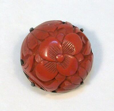 Antique Old Silver China CARVED CINNABAR Floral Lotus Red Round Domed Button