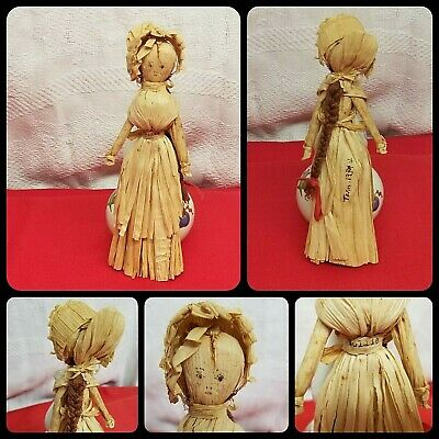 "Antique Corn Husk Folk Art Doll 8"" Handmade Tenn. 1934 Mollie Vintage Americana"