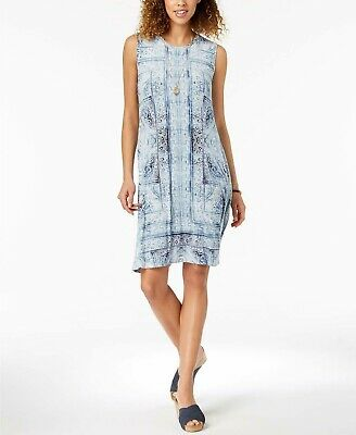 Style & Co Women's Printed Swing Dress Blue Size Large