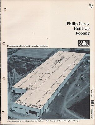 1970 PHILIP CAREY Built-Up ROOFS Roofing Products Use ASBESTOS Vintage Catalog