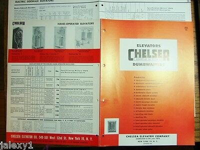 1954 CHELSEA ELEVATOR Co Passenger Freight Dumbwaiters Lifts Chairs VTG Catalog