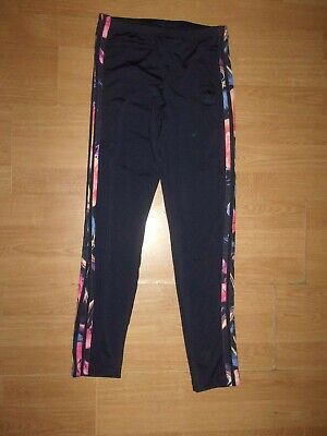 Adidas Originals Navy Blue 'floral stripe' girls leggings age 12-13 years