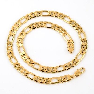 """Men's Necklace Long Chain Curb 18k Yellow Gold Filled 24"""" Link Fashion Jewelry"""