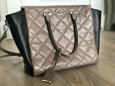 Kate Spade Emerson Place Hayden Quilted Purse, Black & Tan, Excellent Condition