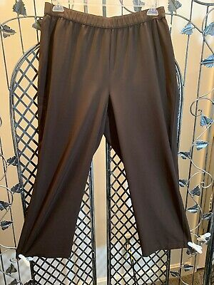 Zenergy By Chico's Size 2/Large Brown Color Elastic Waist Wide Leg Ankle Pants