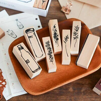 ARTS & CRAFTS! DIY! Set of 7 Wooden & Rubber Vintage Style Floral Stamps