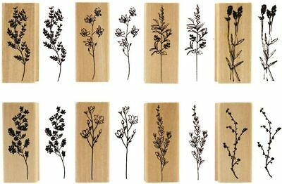 ARTS & CRAFTS! DIY! Set of 8 Wooden & Rubber Vintage Style Floral Stamps