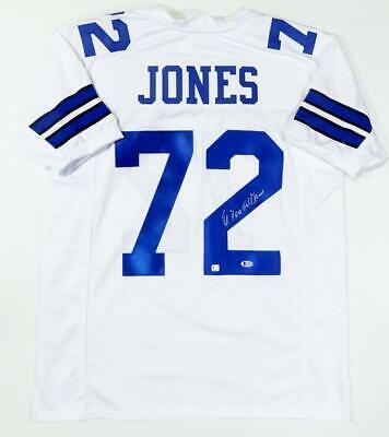 Ed 'Too Tall' Jones Autographed White Pro Style Jersey - Beckett Auth *2