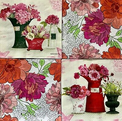 4 Paper Napkins for Decoupage / Parties/Weddings - Red flowers mix