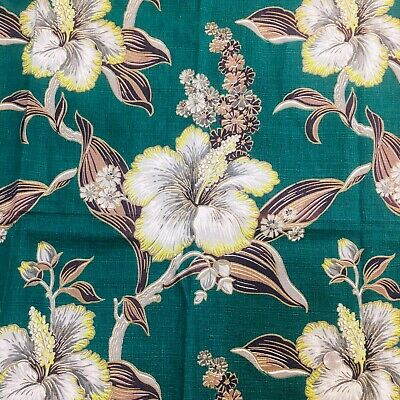 Vintage 1940's Barkcloth Green Tropical Hibiscus Flower Curtain Drape Panel