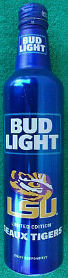 2018 LSU Geaux Tigers Limited Edition Bud Light Aluminum Beer Bottle With Cap