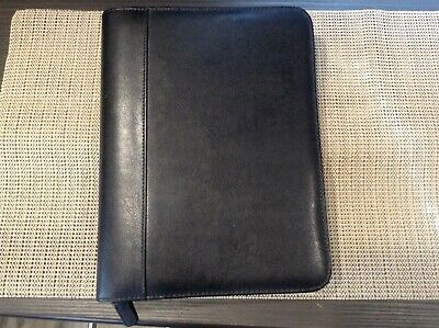 """Classic 1"""" Rings   Black Leather Day Timer ZIP Planner/Binder/Pad Holder"""