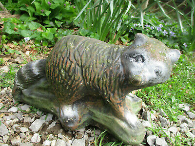 Old Very Weathered Surprised Raccoon Vintage Cement/Concrete Garden Statue