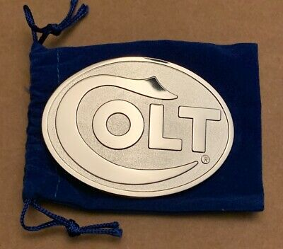 Colt Silver Belt Buckle With Felt Pouch