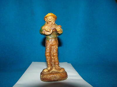 Antique Wooden Man Figure Hand Carved Painted Folk Art Signed Ben Banjo Player