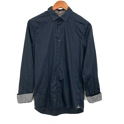 Ted Baker London Mens Size 3 Medium Navy Blue Button Down Long Sleeve Shirt