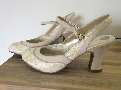 Ruby Shoo NEW Maria cream gold high heel bridal mary jane wedding shoes size 3-9