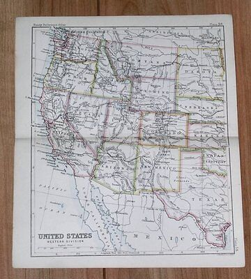 1890 Original Antique Map Western Usa California Arizona Texas