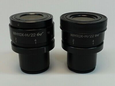 Pair of Olympus WH10X-H/22 Microscope Eyepiece; Excellent Condition
