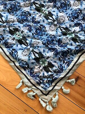 Mimco Floral Square Patterned Tassel Beaded Blue Silk Scarf