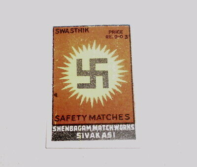 Very old  match box cover from India - Near mint - Swastika