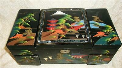 Vintage Asian Jewelry Box Black Lacquer Wood Abalone Inlay Musical Hand Painted