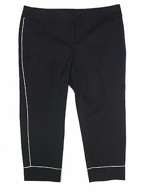 Alfani Womens Pants Black Size 24W Plus Ankle Contrast Piped Stretch $79 194